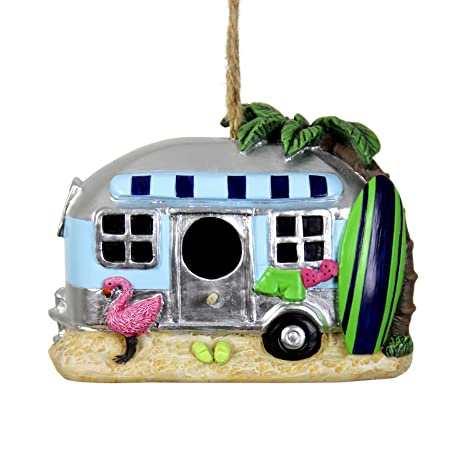 Exhart Retro RV Bus Bird House – Florida Flamingo Vintage Bus Mini House  for Birds with Rope - Hanging Retro Camper Birdhouse Decor - Best as  Tropical