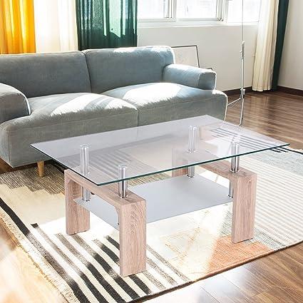 TANGKULA Rectangular Glass Coffee Table Shelf Wood Living Room Home  Furniture (Bright Wooden)