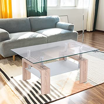 Amazon.com: TANGKULA Rectangular Glass Coffee Table Shelf Wood ...