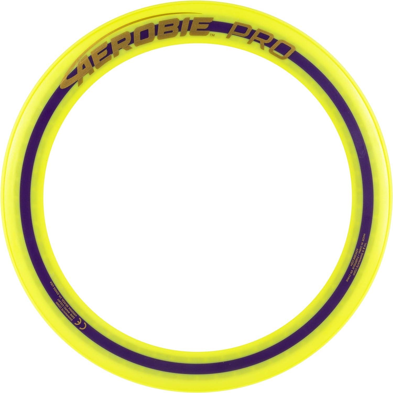 Neon yellow plastic frisbee on white background