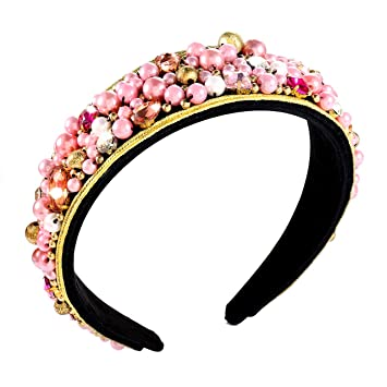 Padded velvet with pearls and Rhinestone decor hairbands for women
