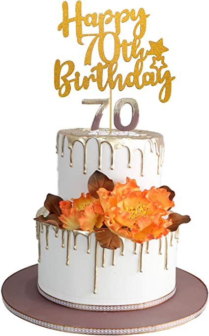 Tremendous Amazon Com Gold Glittery Happy 70Th Birthday Cake Topper For Funny Birthday Cards Online Aboleapandamsfinfo