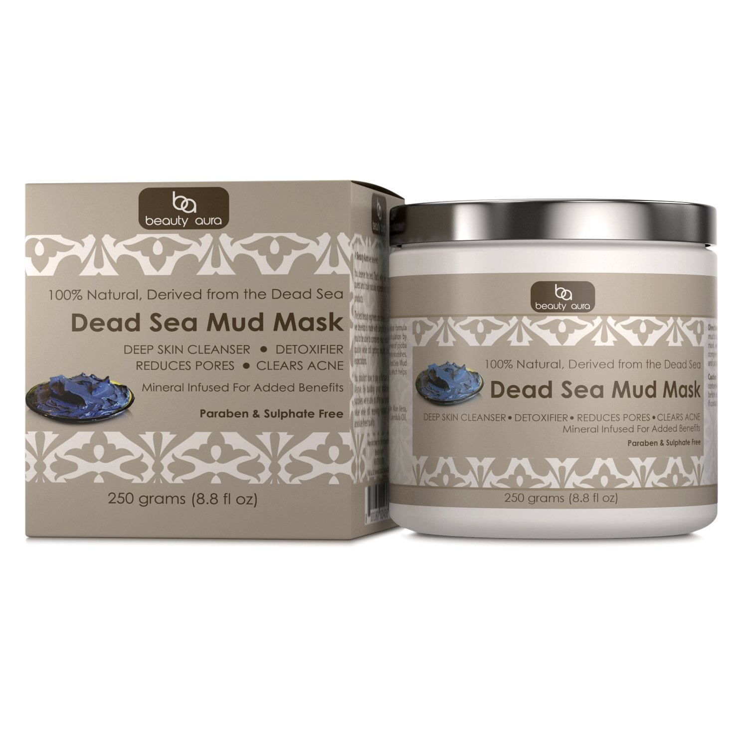 Beauty Aura Dead Sea Mud Mask, 250 grams (8.8 fl oz) - 100% Natural - Deep Cleanses and Detoxifies the Skin - Promotes Visibly Lesser Pores and Clearer Skin.