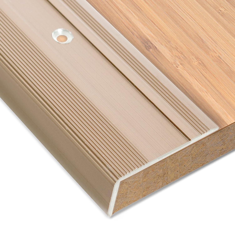 inklusive rutschhemmender Vinyl-Einlage Erh/ältlich in 4 Farben und 3 L/ängen Treppenkantenprofil Glory 17mm H/öhe L-Form 134cm bronze hell