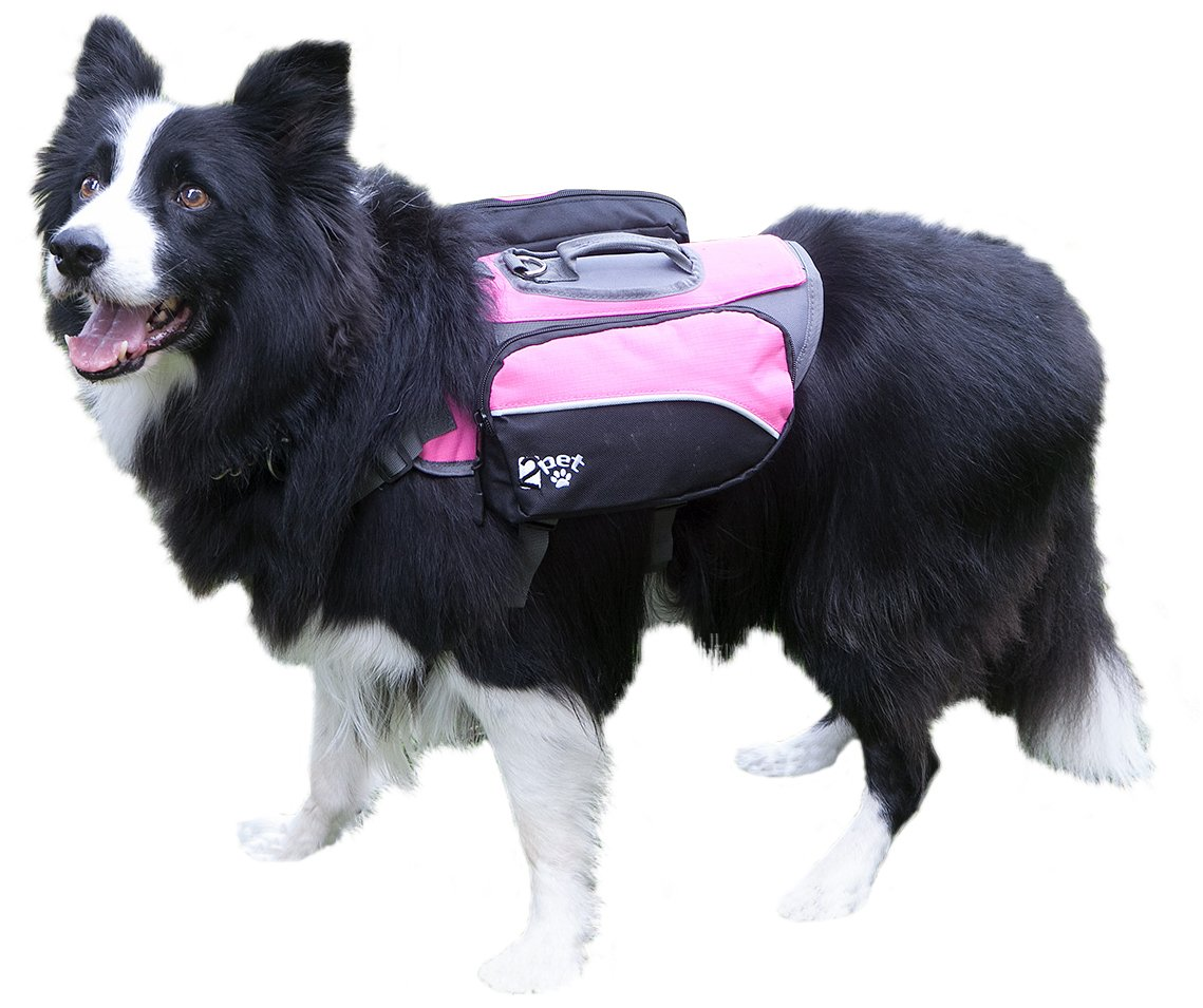 2PET Dog Backpack for Hiking Compact Dog Saddlebag for Dogs Adjustable Harness Comfortable Fit-Perfect Dog Carrier Backpack with 2 Zipper Pockets & Bottle Holder for Outdoor Activities Medium Pink
