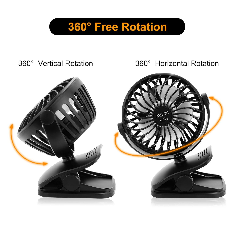 ESEOE Clip on Fan, USB Or 2600mAh Rechargeable Battery Operated Fan Small Desk Fan with 4 Speeds, 360 Degree Rotation Portable Stroller Fan for Baby S (Black) by ESEOE (Image #4)