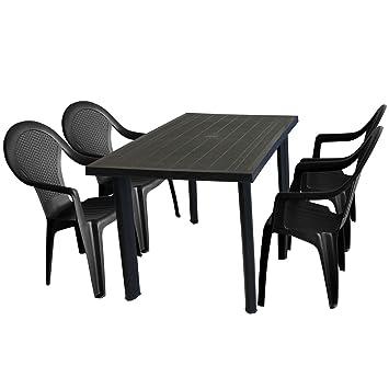 Mobiliario de jardín mesa de jardín 125 x 75 x cm + 4 x Silla de ...