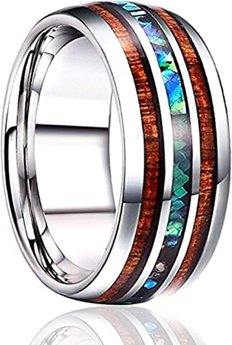 Stainless Steel Abalone Shell Inlay Men Women Wedding Band Ring Fashion Jewelry