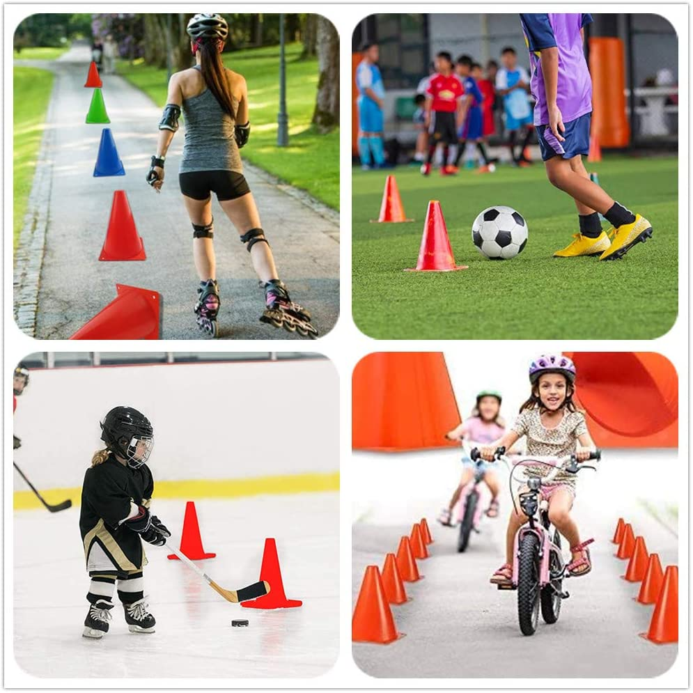 9 Inch,20 Pack Agility Training Sport Cone with Carry Bag for Kids Drills Football Basketball Field Markers, ANSLYQA Soccer Cones 5 Colors