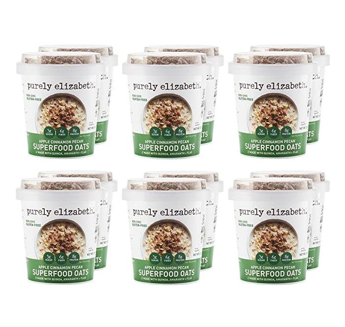 Purely Elizabeth Superfood Oats Cup With Granola Topper - Gluten-Free Oats & Non-GMO Project Verified | 100% Vegan | APPLE CINNAMON PECAN - 12 Count