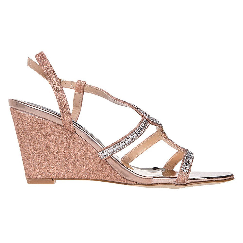 36023528e9 SheSole Women's Wedding Dress Shoes Diamante Wedge Heel Sandals Size 3-9:  Amazon.co.uk: Shoes & Bags