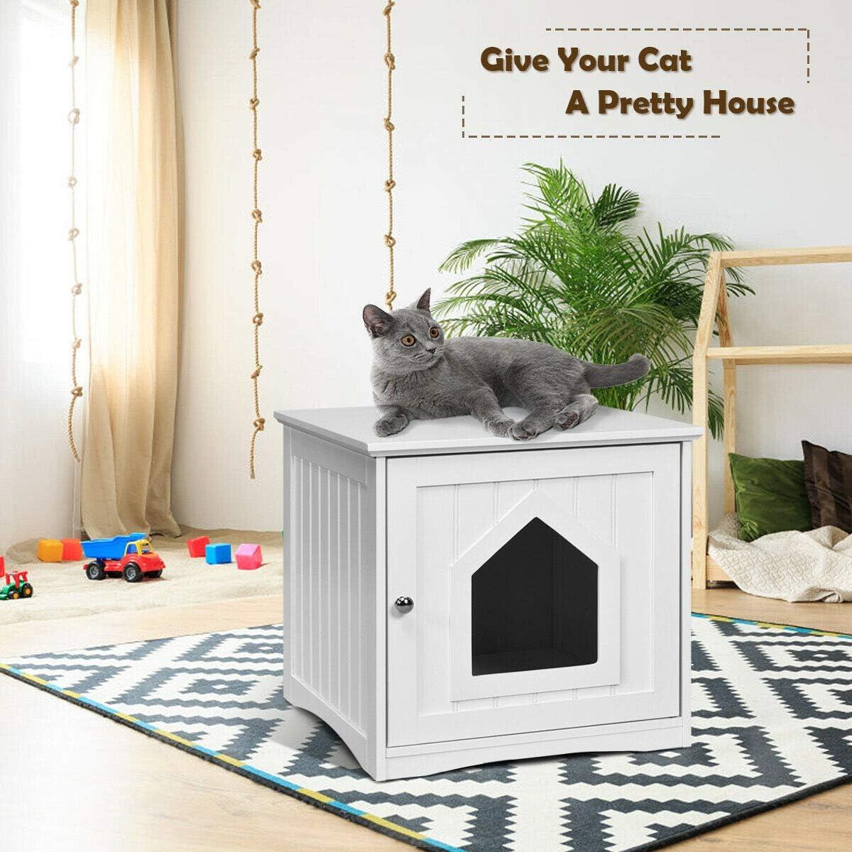 PETSITE Cat House Litter Box Decorative Pet Cat Home Nightstand House Cat Washroom Litter Box