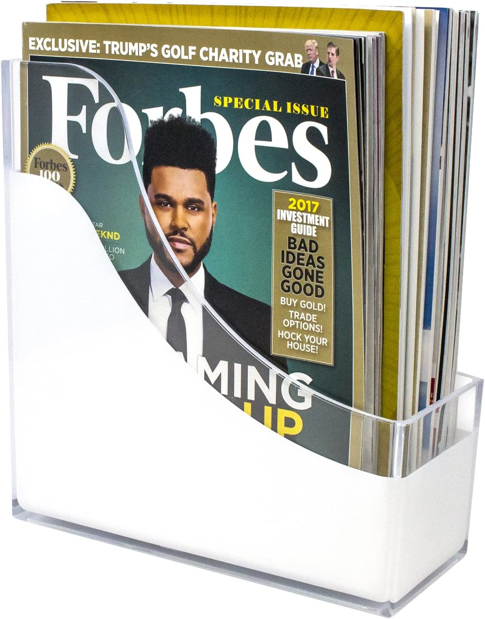 Magazine Holder Stackable Acrylic Paper Organizer Desktop File Bin Folder
