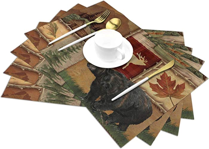 Placemats Set of 4 Table Mats Rustic Lodge Bear Moose Deer Heat Resistant Linen Placemats for Dining Table Kitchen Decor and Accessories (Bear Moose Deer, 12x18 Inch)