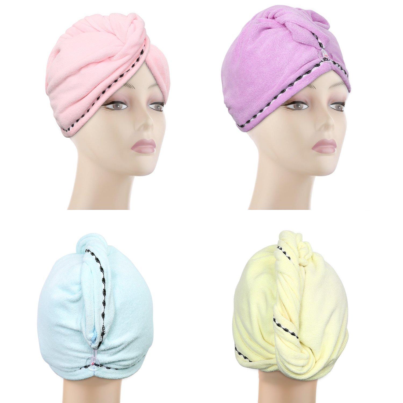4 Pack Hair Towel wrap turban, Absorbent Microfiber Fast Hair drying towels for Long Hair with Elastic loop for women girls