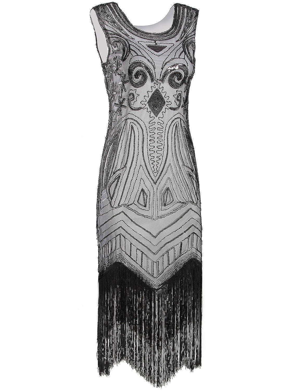 Black   White Vijiv Long Prom 1920's Vintage Gatsby Bead Sequin Art Nouveau Deco Flapper Dress