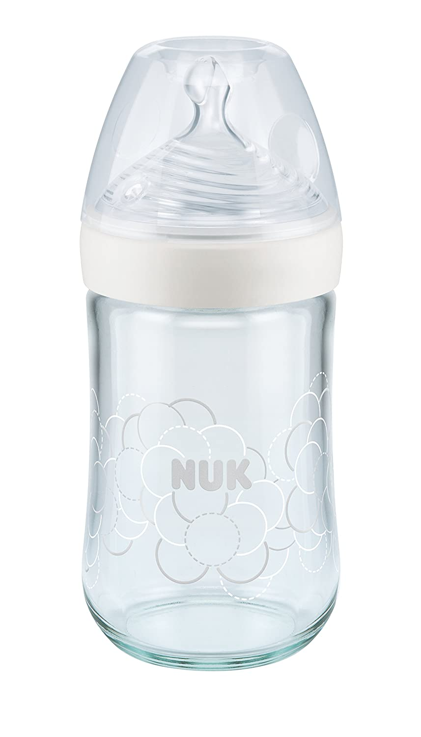 NUK Nature Sense Glass Bottle with Silicone 0-6 Months, M (6 Tiny Openings for Formula), Holds 240 ml White