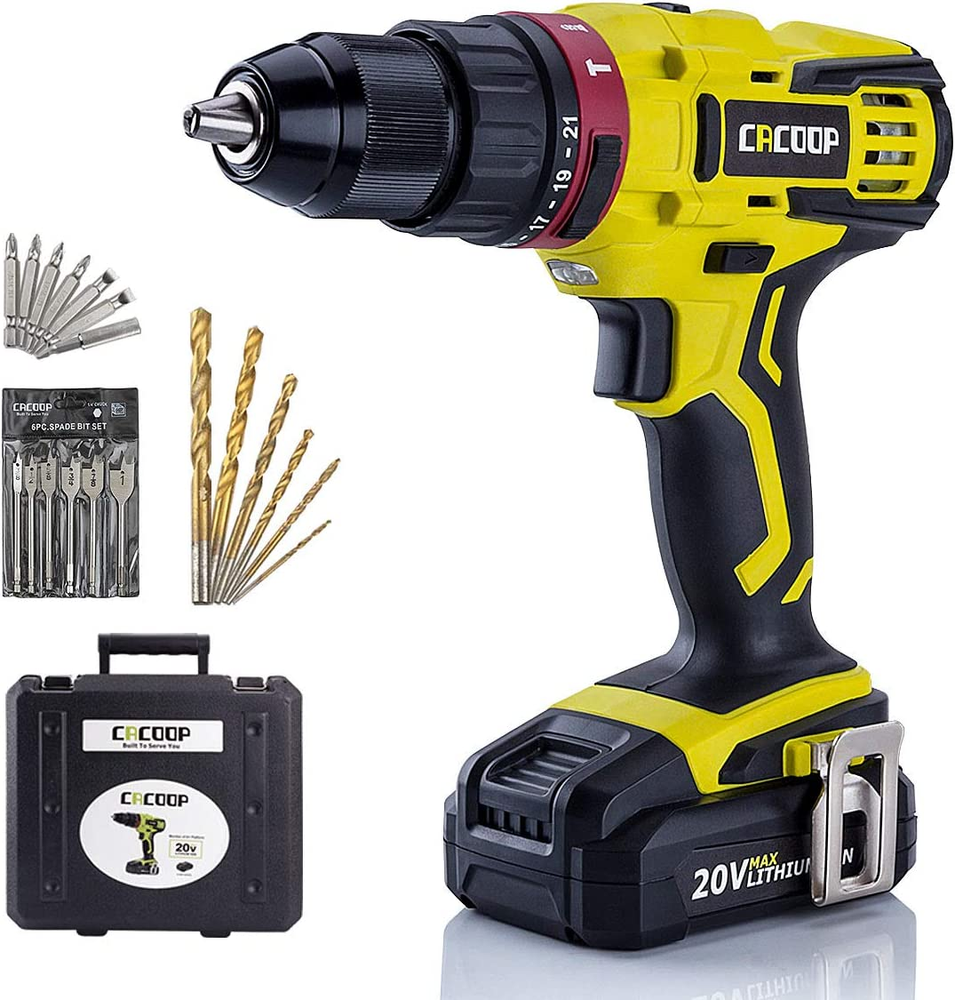 CACOOP Cordless Hammer Drill Driver Set, 20V Compact Drill with Lithium-ion Battery and Charger, 1 2 inch All-Metal Chuck, 2 Variable Speed, Wood Drill and Screwdriver Bits, Magnetic Bit Holder