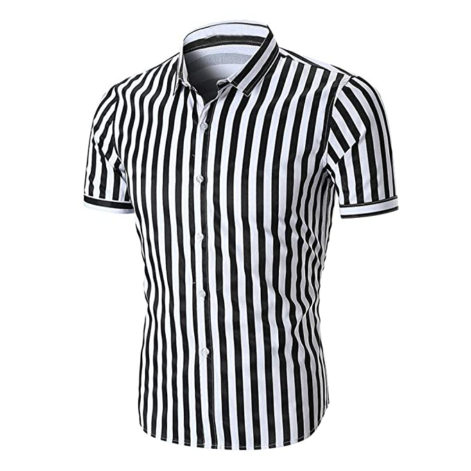 Camiseta para Hombre, Blusa Superior de Manga Corta a Rayas Casual de Verano de los