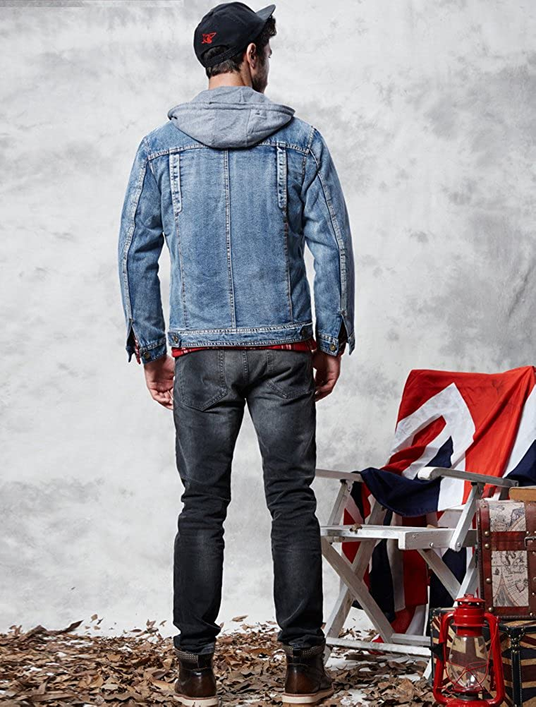 Lavnis Mens Winter Denim Hooded Jacket Slim Fit Casual Jacket Button Down Distressed Jeans Coats Outwear