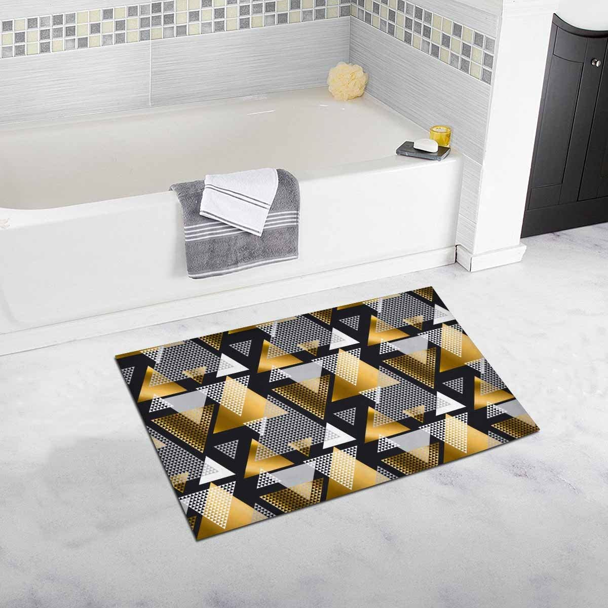 InterestPrint Modern Abstract Gold and Black Geometric Triangle Decor Non  Slip Bath Rug Absorbent Shower Mat for Bathroom Tub 3 x 3 Inches