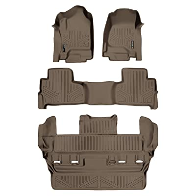 SMARTLINER Custom Fit Floor Mats 3 Row Liner Set Tan for 2015-2020 Chevrolet Tahoe/GMC Yukon: Automotive