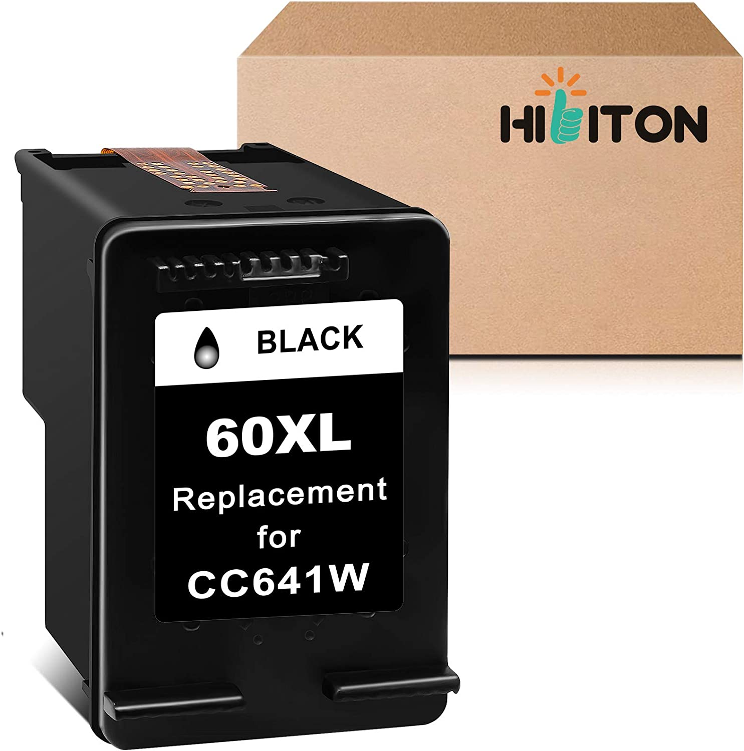 HibiTon Remanufactured Ink Cartridge Replacement for HP 60XL 60 XL Work with PhotoSmart C4700 C4795 C4600 D110a Envy 120 100 114 DeskJet F4235 F4580 F4400 F2430 F4440 F2480 Printer (Black) 1 Pack