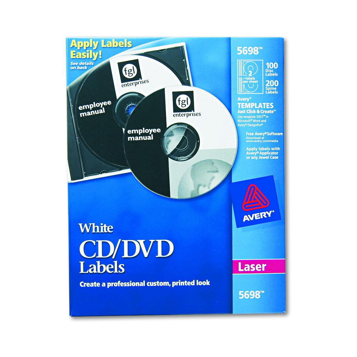 Amazon avery cd labels for laser printers white 100 disc amazon avery cd labels for laser printers white 100 disc labels and 200 spine labels 5698 all purpose labels office products pronofoot35fo Choice Image