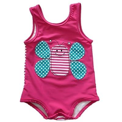 Baby Girls Cartoon Bee One Piece Swimsuit Stripe Beach Wear Bodysuit Swimwear