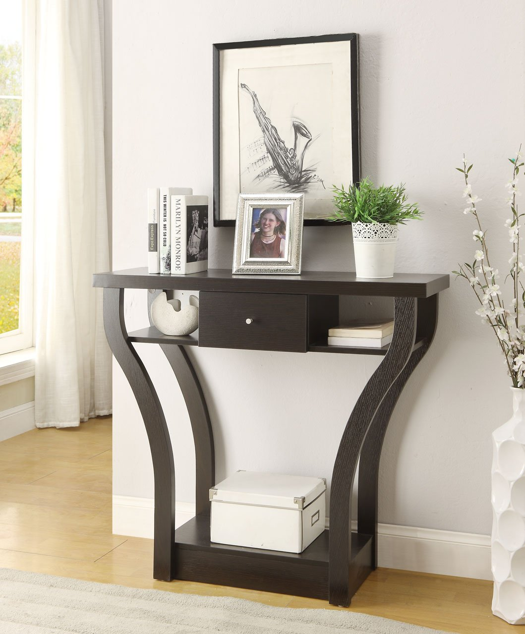 Amazon.com: Cappuccino Finish Curved Console Sofa Entry Hall Table With  Shelf / Drawer: Kitchen U0026 Dining