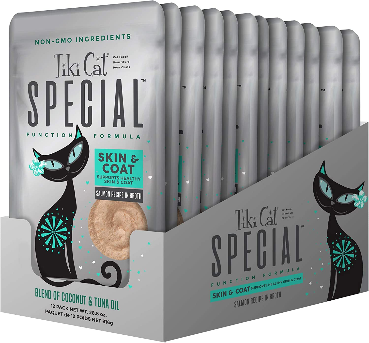 TIKI PETS Cat Special Mousse Wet Cat Food Function Formula Skin & Coat Salmon Recipe in Broth 12 Pouches, 2.4oz