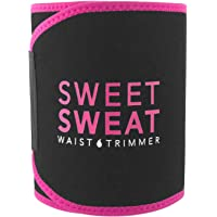 $20 » Sweet Sweat Waist Trimmer - Black/Pink | Premium Waist Trainer Sauna Suit for Men & Women