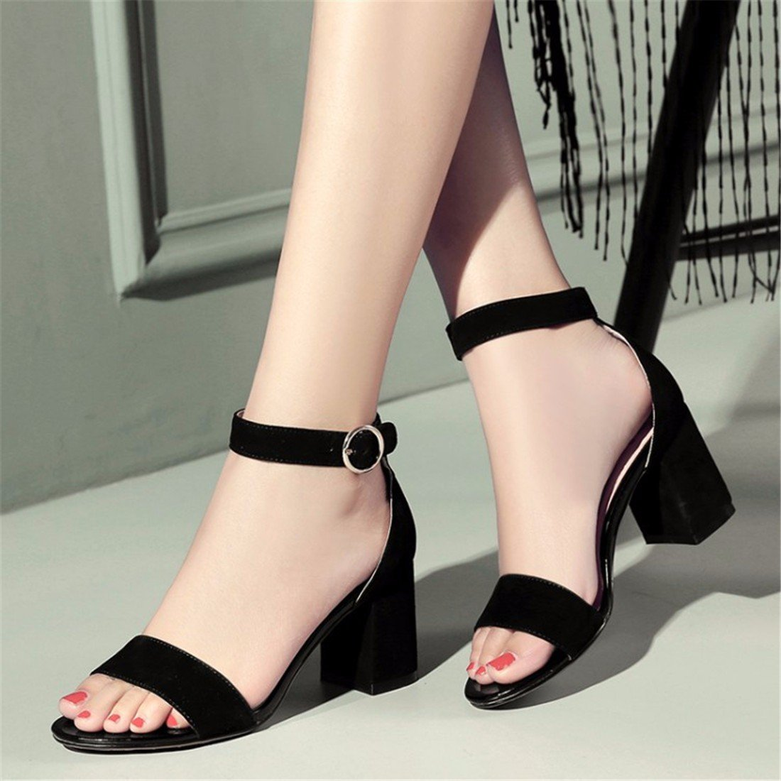Frau Damen Sandalen Leder Sandalen Dick mit Hochhackigen Sandalen Gurt Tau-Toe Sandalen
