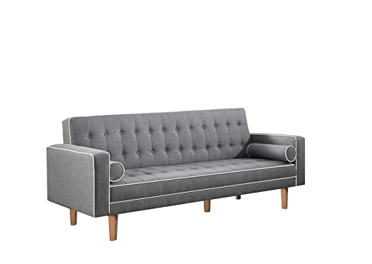 Scott Living Luske Fabric Sofa Bed with Accent Pillows in Gray & White