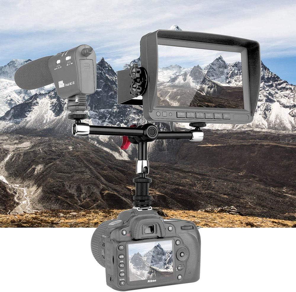 Fotga 11 Inch Aluminum Adjustable Articulating Friction Magic Arm,Dual Arm for DSLR Camera LED Lights Flash Light LCD Monitor EVF
