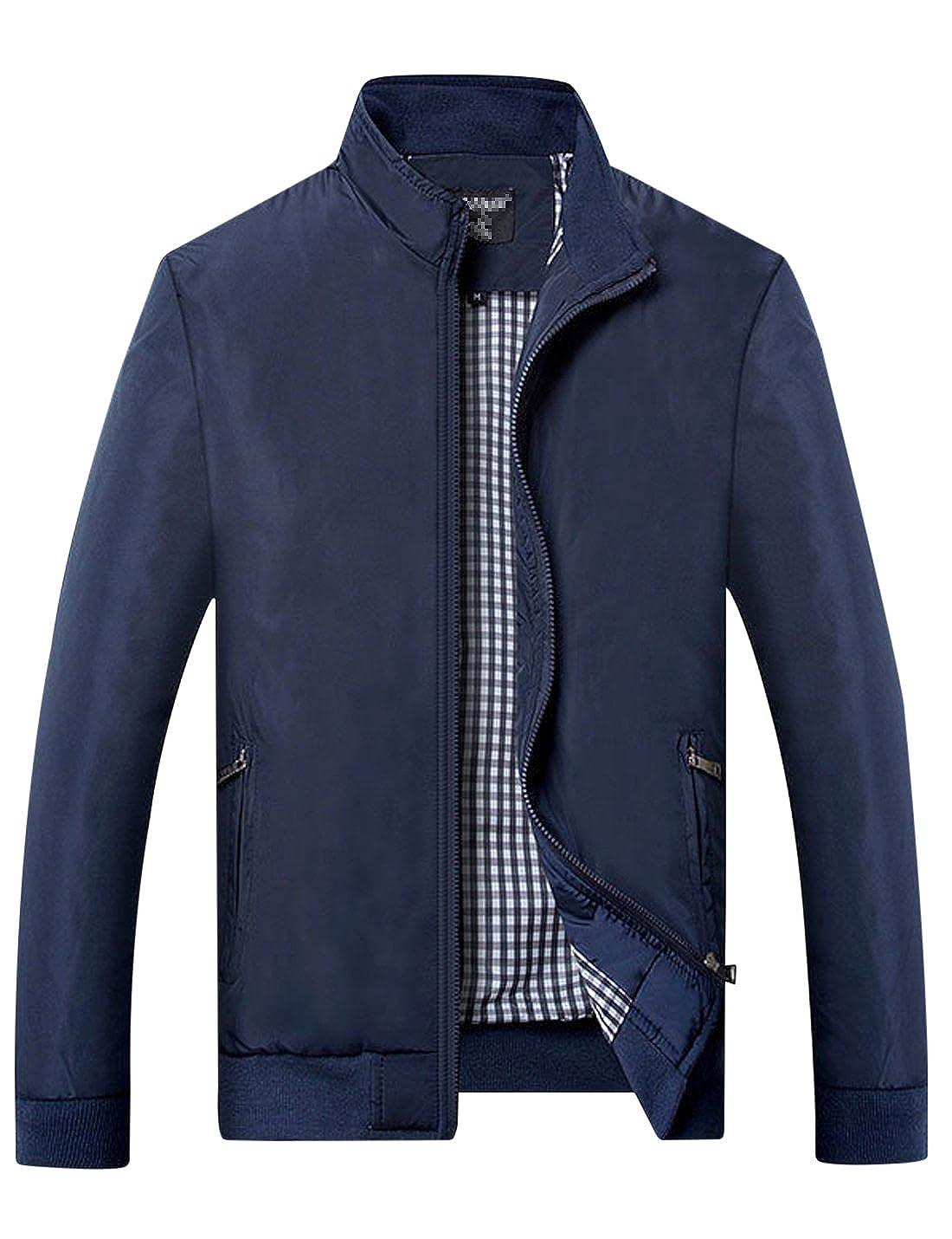 Yeokou Men's Casual Slim Stand Collar Lightweight Thin Windbreaker Fall Jacket