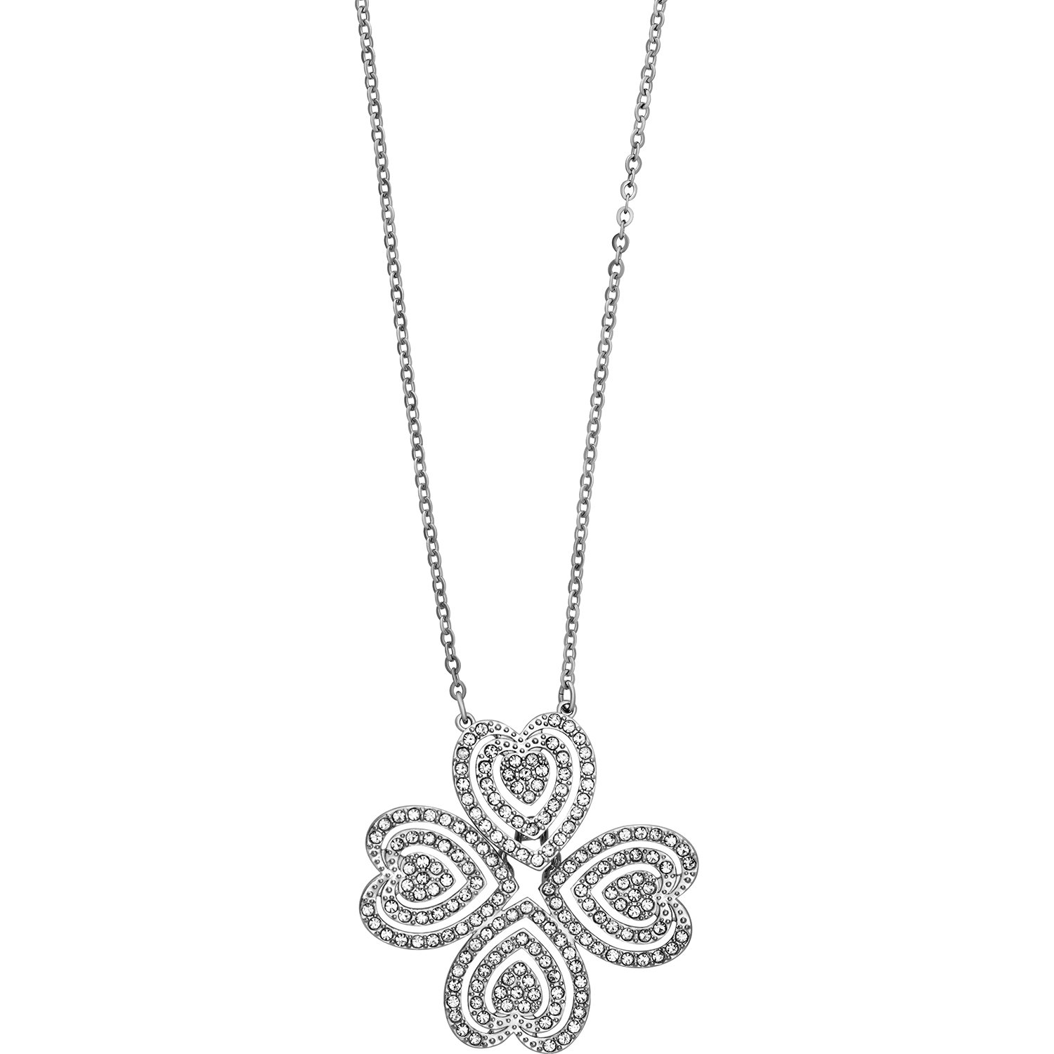 Swarovski Carol 5186136 Lucky Four Leaf Clover Heart Rhodium Plated Necklace