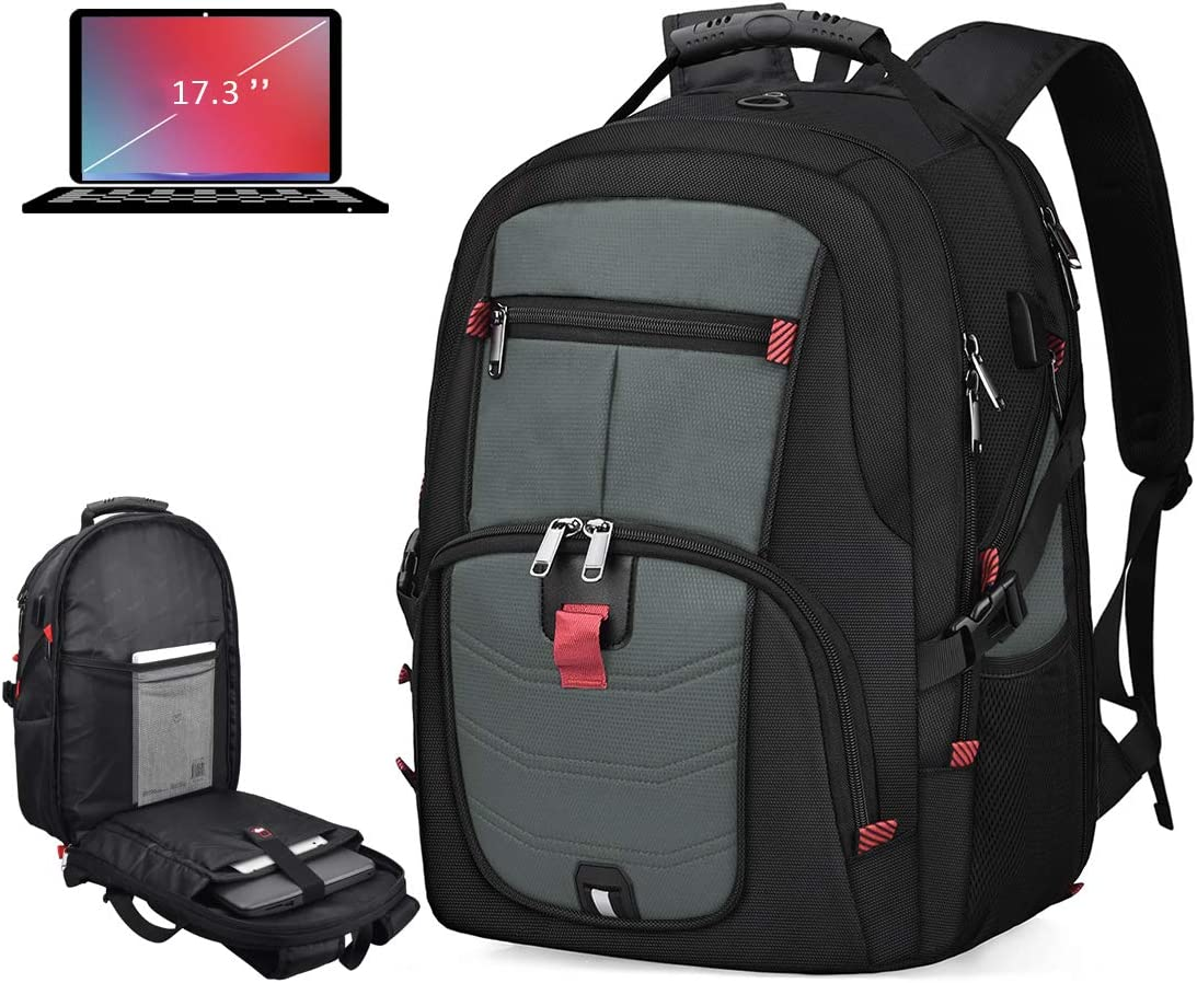 Laptop Backpack 17 Inch Waterproof Extra Large TSA Travel Backpack Anti Theft College School Business Mens Backpacks with USB Charging Port 17.3 Gaming Computer Backpack for Women Men 45L Grey