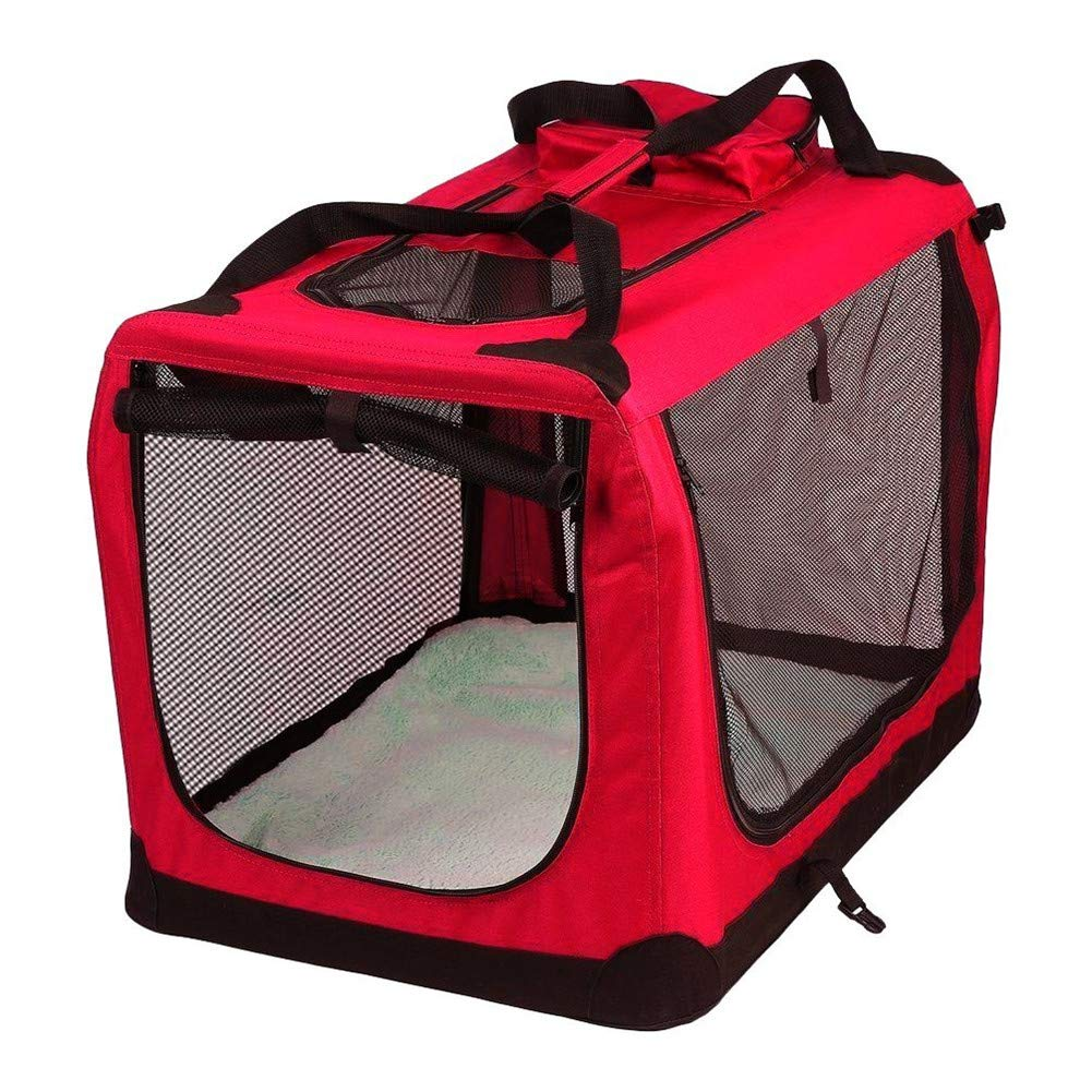 Red 105x76x76cm Red 105x76x76cm Portable Soft Fabric Pet Carrier Crate, Pet Carrier Folding,Travel Transport Bag-Suitable for Cats, Dogs, Kittens, Puppies, etc.(Red,bluee)