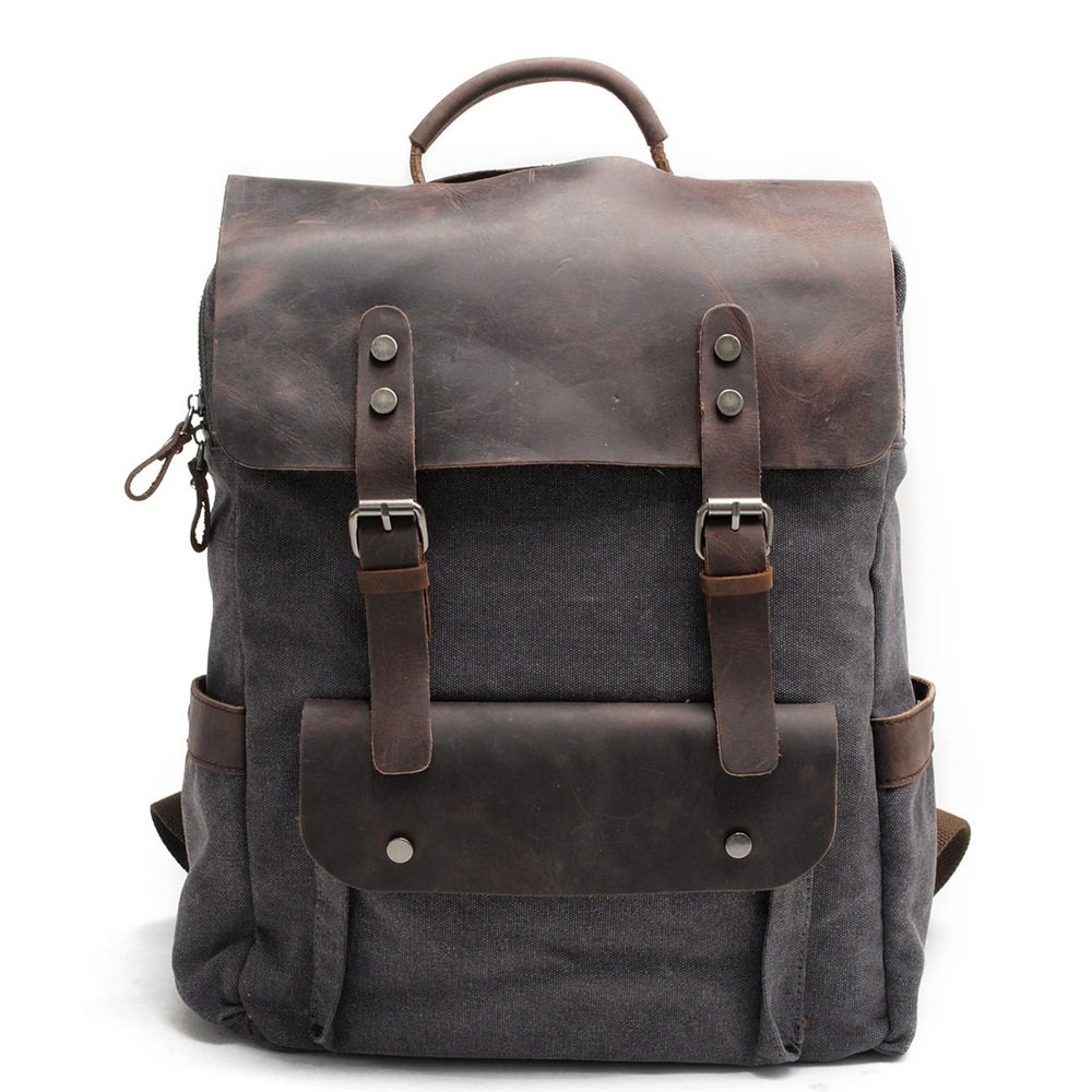 Leisure Sports Men//Women Backpack Daypack Waterproof Vintage Zipper Canvas Student Outdoor Shopping Large Capacity Portable Backpack Color:Gray