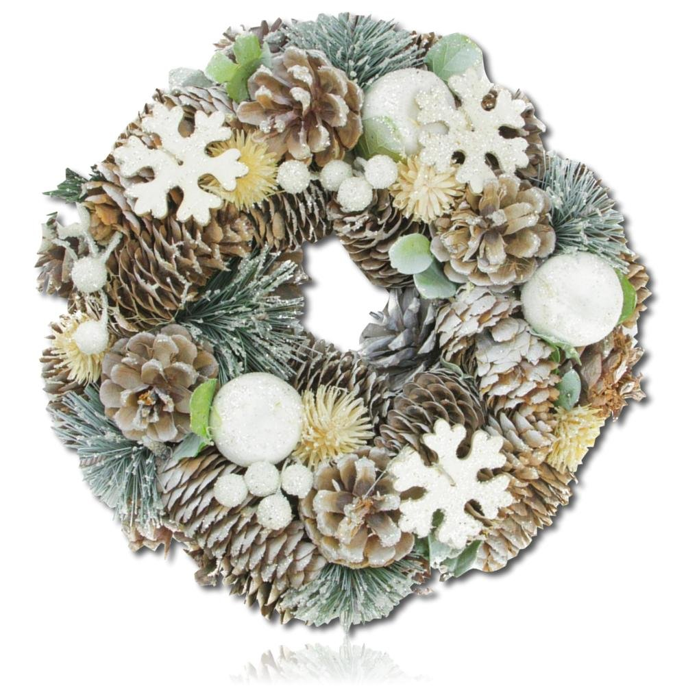 "Custom & Unique (10.5"" Inches) 1 Single Mid-Size Decorative Holiday Wreath for Door, Made of Resin & Wood w/ Sparkly Frosted Pine Branches & Cones w/ Snowflakes Style (White, Yellow, Green, & Brown)"