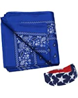 12 Pack Paisley Bandanas w/ American Flag Headband by CoverYourHair