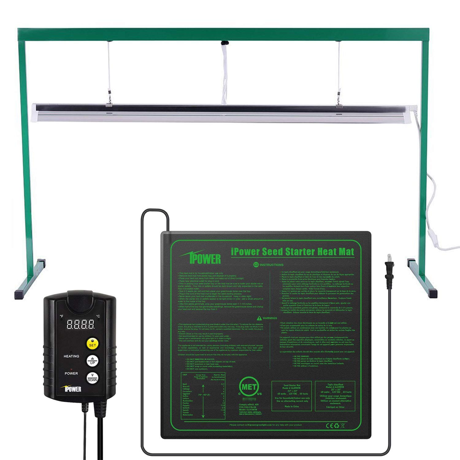 iPower 54W 4 Feet T5 Fluorescent Grow Light Stand Rack (6400k) and 20'' x 20'' Seedling Heat Mat and 40-108 Degrees Fahrenheit Digital Heat Mat Thermostat Controller Combo Set for Seed Germination