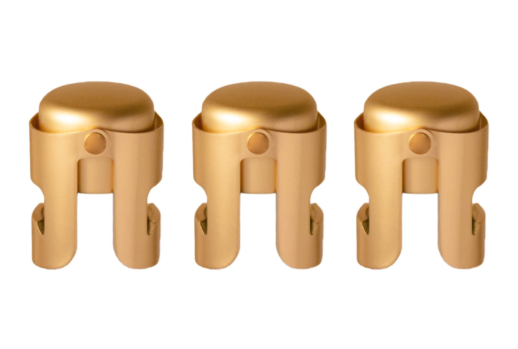 Gold Champagne Stopper (3 Pkg), Designed in France, Bottle Sealer for Cava, Prosecco, Sparkling Wine, Gold Plated, No Sharp Edge, Simple Design, No Leaks, No Spills, Passed 13 lbs Pressure Test