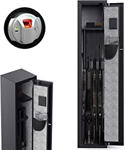 CISNO Gun Safes for Rifles and Shotguns, Biometric Rifle Gun Safes, Quick Access Gun Storage Cabinet with Handgun Holder (Fingerprint 4 Rifles)
