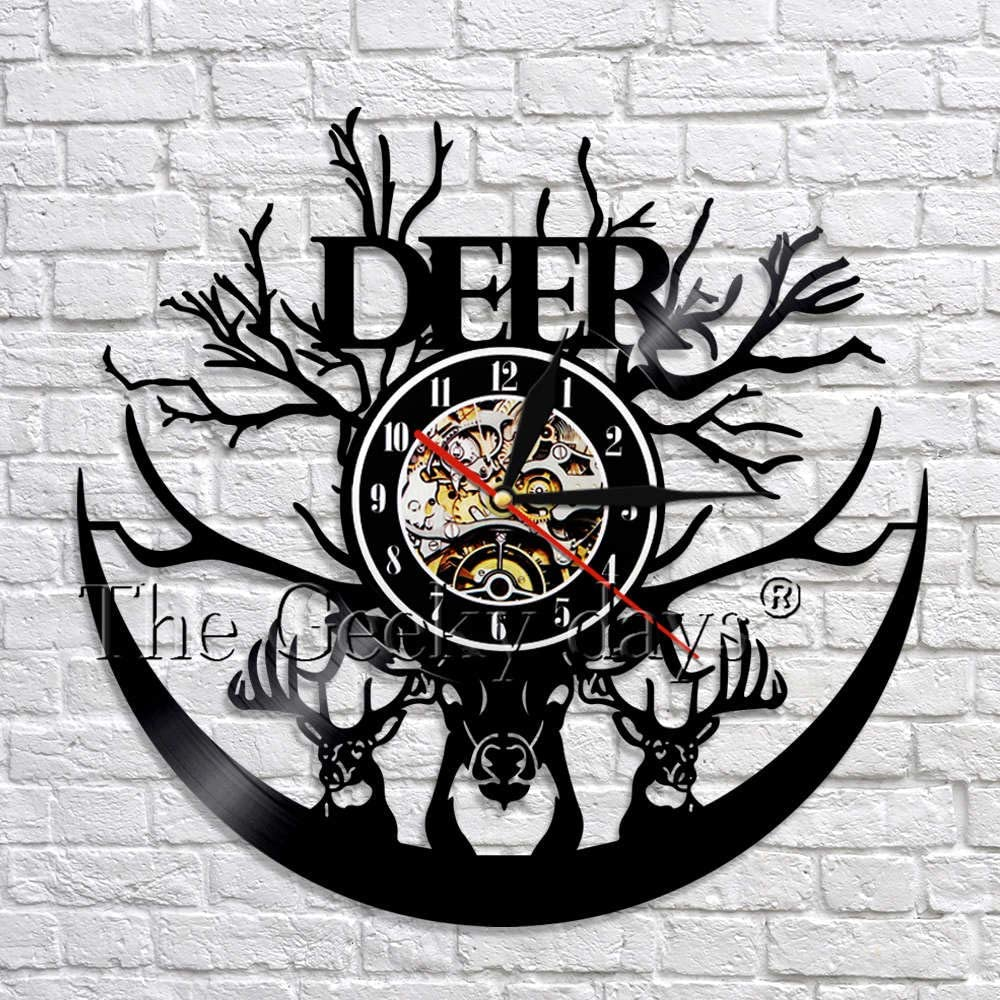 wtnhz LED-Reloj de Pared con Disco de Vinilo con Cabeza de Ciervo Salvaje, astas de Ciervo clásico, Reloj de Pared con Animales 3D, Reloj de decoración navideña