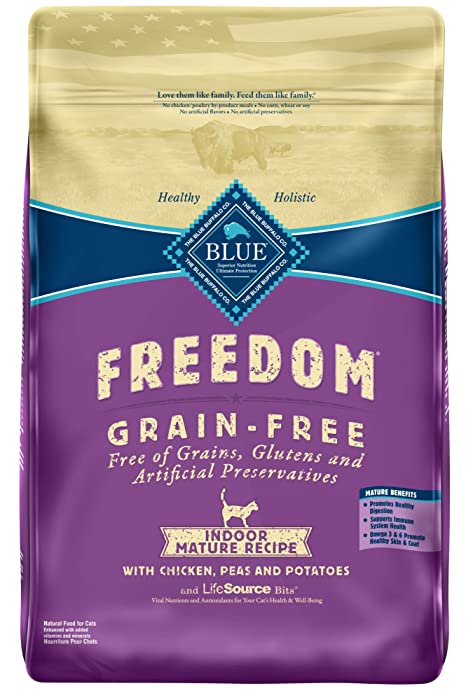 Blue Buffalo Freedom Grain Free Natural Indoor Mature Dry Cat Food, Chicken 11-lb.