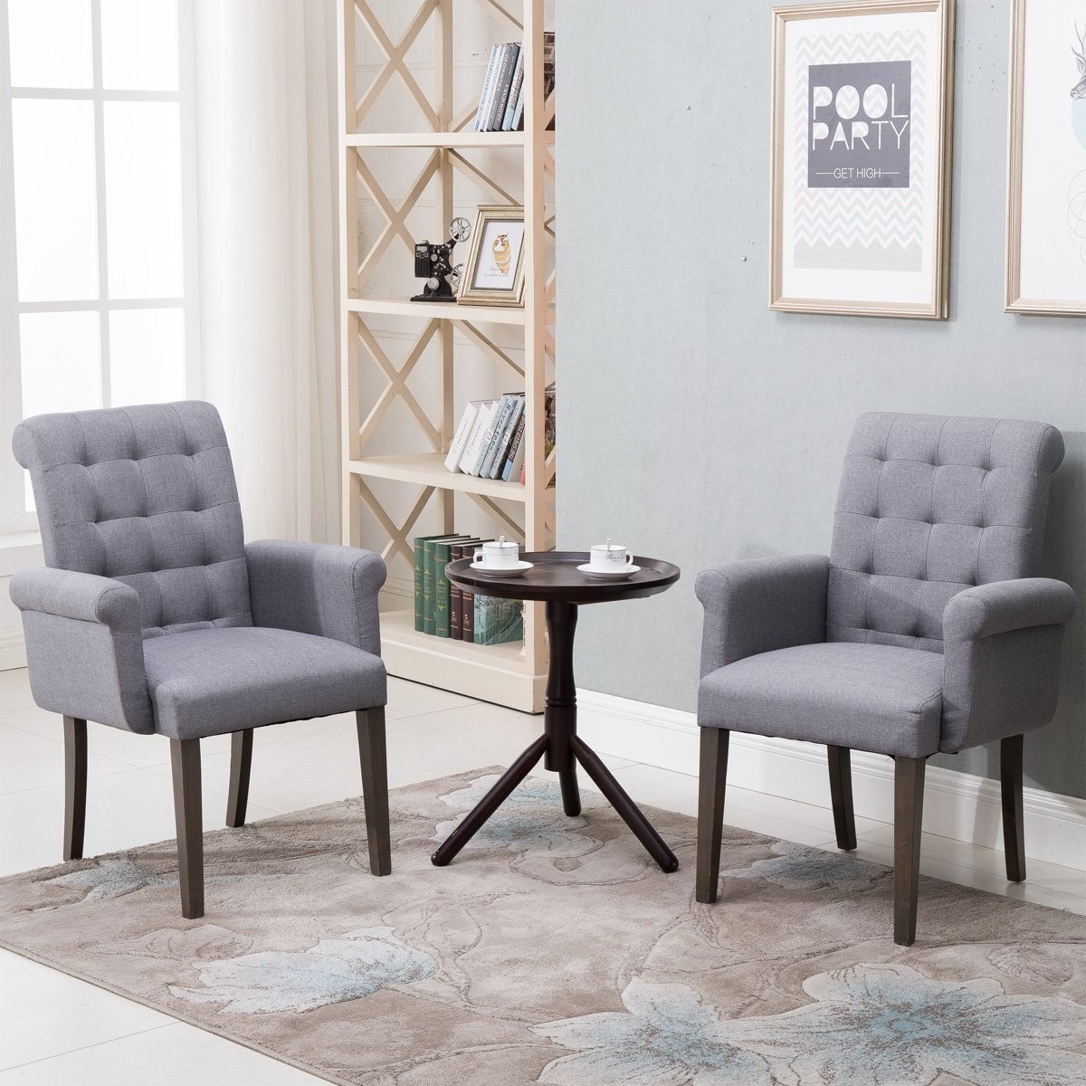 Harper Bright Designs Set of 2 Fabric Tufted Dining Chair Accent Chair with Armrest and Solid Wood Legs Grey