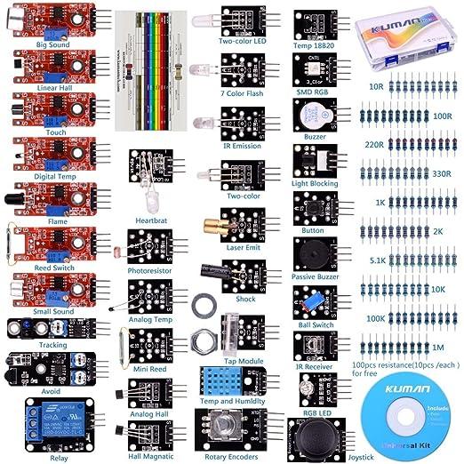 19 opinioni per Kuman K5 37 in 1 per Raspberry Pi 3 Arduino UNO R3 Mega2560 Nano Sensore modulo