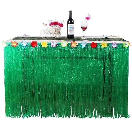 Lanlan hawaiano Tropical estilo césped artificial mesa falda de flores Luau barbacoa fiesta vajilla decoración